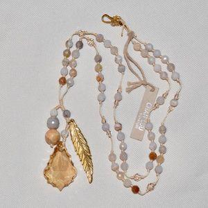 Jewelry - NWT CHAN LUU SWAROVSKI FEATHER CHARM NECKLACE
